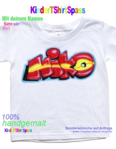 Kinder T-Shirt - Dein Name mit Smiley 1+5