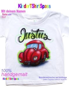 Kinder T-Shirt - Dein Name mit Neon Regenbogenstern
