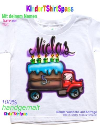 Geburtstag Autofan LKW Torte Kindershirt