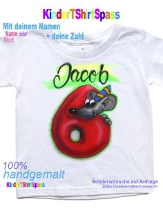 Kinder T-Shirt mit Namen -Dein Name und der Roboter 4