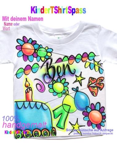 Kinder T-Shirt - Dein Name in Graffiti Kids NEON mit Sternen Geschenke für Kinder