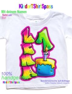 Geburtstags-T-Shirt - Dein Name auf Tortenstück mit Geburtstagkerze