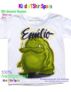 Kinder T-Shirt mit Namen - Dein Name und das Eismonster