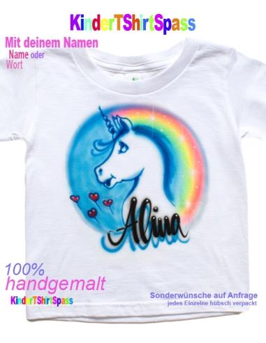 Einhorn mit Regenbogen T-Shirt Mädchen